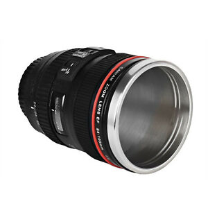 Black Canon EF 24-105mm Camera Lens Thermos Stainless Mug Cup