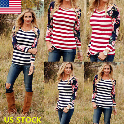 Autumn Women Floral Long Sleeve Shirt Casual Loose Striped Patchwork Tops Blouse