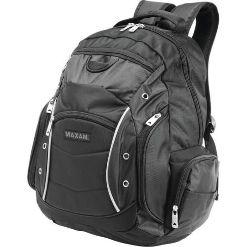 "PADDED LAPTOP BACKPACK 19"" Black Business Bag Computer Noteb"