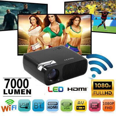 3D WiFi Wireless LED Projector HD 1080P Smart Home Theater Cinema 7000 Lumens US