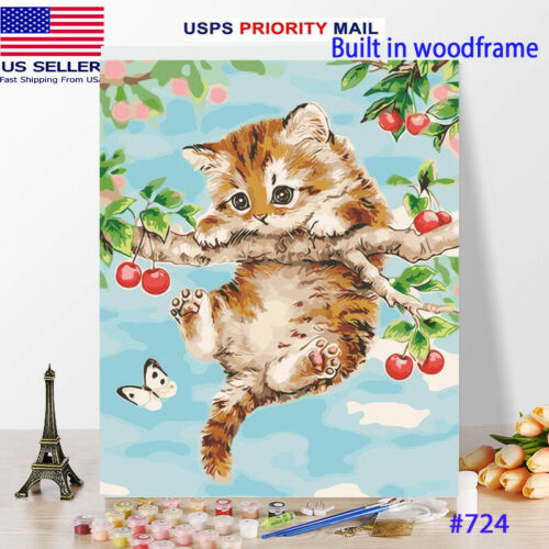 Wooden Framed  DIY Oil Painting Paint by Number Kit for Adults kid cat Kitten tr