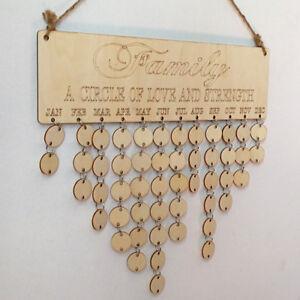 US DIY Wood Birthday Reminder Board Birch Ply plaque Sign Family Calendar Decor
