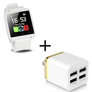 White Bluetooth Smart Watch Android + 4Port Wall Charger Adapter