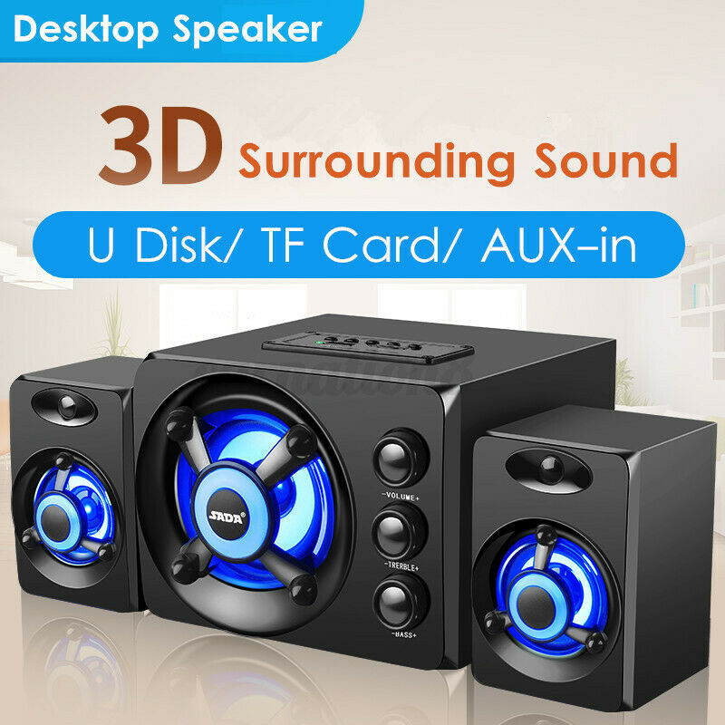 2.1 Desktop Computer Speaker LED Light Heavy Bass Subwoofer Home Speaker For PC