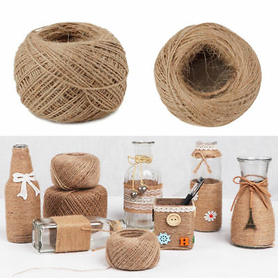 100M Natural Hemp Linen Cord Twisted Burlap Jute Twine Rope String Craft Decor (Twisted Natural)