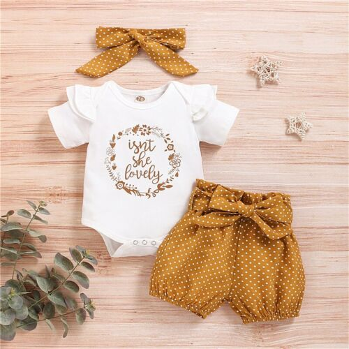 Newborn Baby Girl Clothes Bodysuit Romper +Dot Floral Shorts +Headbands Outfits