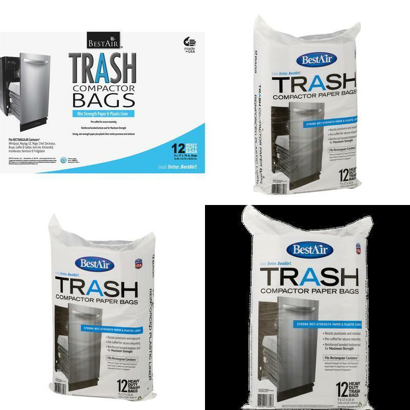 Bestair Trash Compactor Bags, 12 Bags