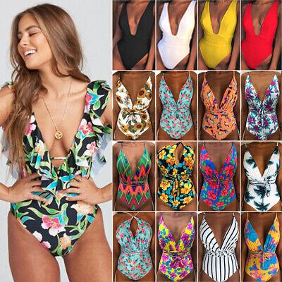 Womens Monokini One Piece Swimsuit Flounce Swimwear Beach Wear Bathing Bikini