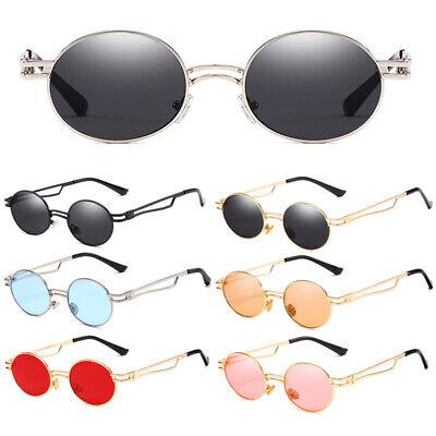 Oval Shades Sonnenbrille Herren Damen Hipster Hippie Brille Metal Rahmen UV 400