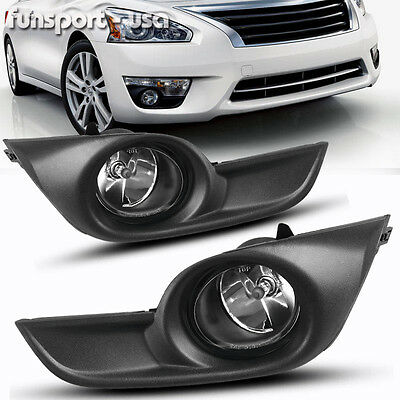 for 2013-2015 Nissan Altima Sedan 4Dr Clear Fog Lights Lamps Kit Switch+Harness