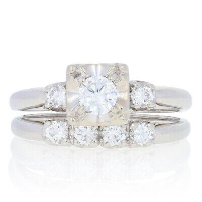 70ctw Round Brilliant Diamond Vintage Engagement Ring & Wedding Band Platinum