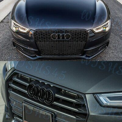 Black Badge For Audi Rings Grill Front Hood A3 A4 S4 A5 S5 A6 S6 SQ7 TT Emblem
