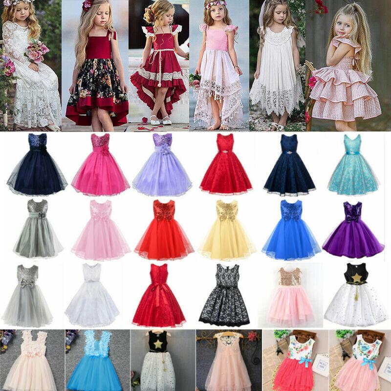 Baby Kinder Mädchen Prinzessin Partykleid Tüll Tutu Kleider Festkleid Blumen 116