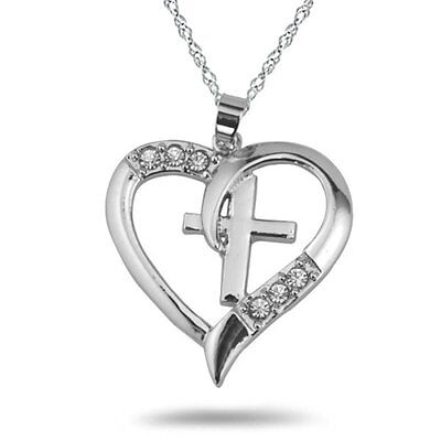 Chic High-grade Auger Girls Hearts Cross Necklace Jewelry Show Love For Gifts - Cross Necklace For Girl