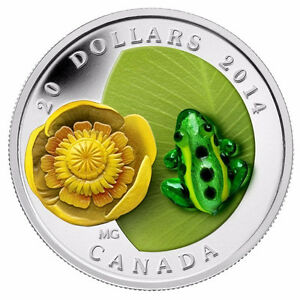 2014 Fine Silver Water-lily and Venetian Glass Leopard Frog Coin