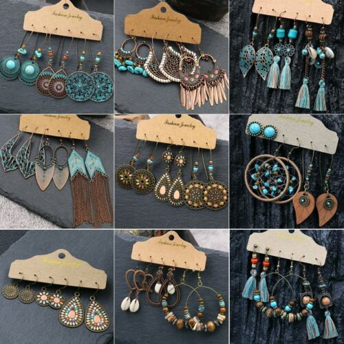Jewellery - Boho   Earrings Set 3 Pairs Retro Leaf Tribal Ethnic Drop Dangle Women Gift