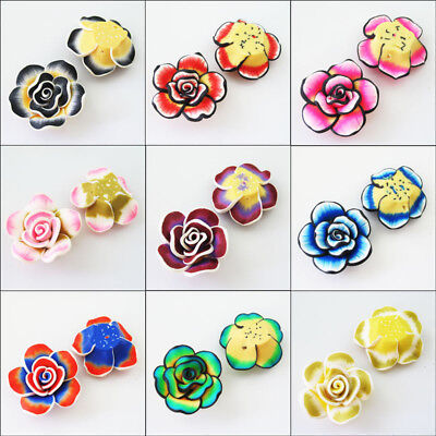 3 Charms Polymer Fimo Clay Flower Spacer Beads 40mm Red Pink Blue Green Black