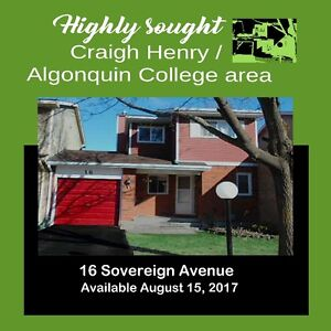 HIGHLY SOUGHT 3 BR Townhouse in Craig Henry/Algonquin College