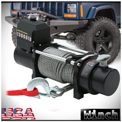 Car Vehicle 13000LBS 12V Electric Winch Steel Wire Cable Pull Winch Towing Truck