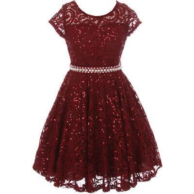 Tea Girl Dresses (Burgundy Cap Sleeve Illusion Neckline Glitter Tea Length Flower Girl Dresses)