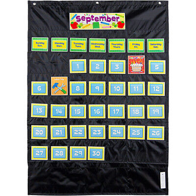 Deluxe Calendar Pocket Chart Black](Black Pocket Chart)