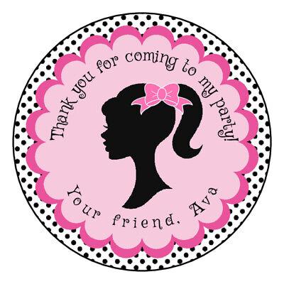 Custom Barbie birthday party Favors Tags/Stickers 2.5 birthday label sticker](Barbie Stickers)