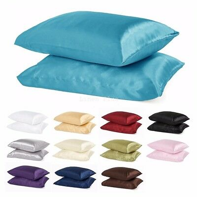 - 2 Piece LinenPlus Collection Satin Pillow Case Available All Colors King / Queen