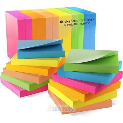 Self Sticky Notes Pop Up Memo Reminder Bright Colorful Sticks 12 Pads 100 Sheets