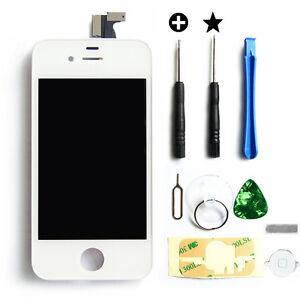 Weiß LCD Display Touchscreen Glas Retina Digitizer Komplett für iPhone 4 4G