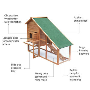 """58"""" Rabbit Hutch Chicken Coop Wooden Poultry Hen House Pet Cage"""