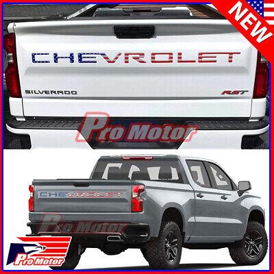 For 2019 2020 Chevrolet Silverado USA Flag Tailgate Insert Letters 3D Raised