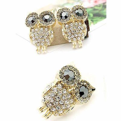 Fashion Women Jewelry Charm Rhinestone Crystal Owl Gold Earrings Ear Stud Gift