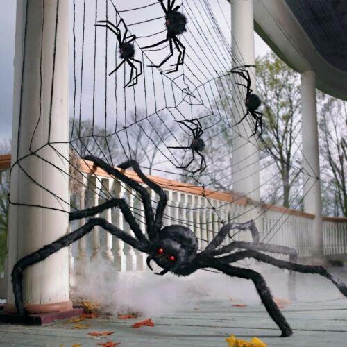 2 Lg/Sm GRANDIN ROAD Feather Black Spiders Orange Glass Eyes Halloween 🕷🕷🕷🕷