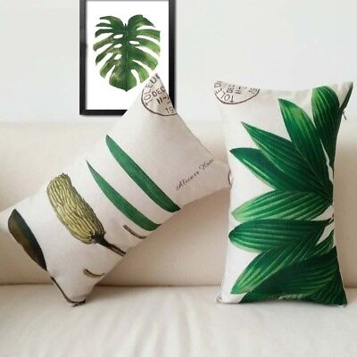 Pillow Case Nordic American Pillowcases Watercolor Plant Grass  Cushion Cover