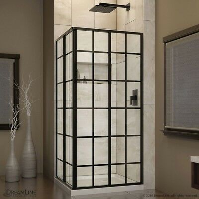 DreamLine French Corner 34 x 34 x 72 Framed Sliding Shower Fold Satin Black