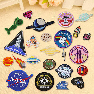 Outer Space Planet Embroidery Sew On Iron On Patch Badge Fabric Applique - Space Crafts