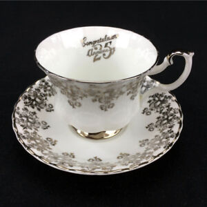 Royal Albert Tea Cup And Saucer 25th Anniversary Fine Bone China