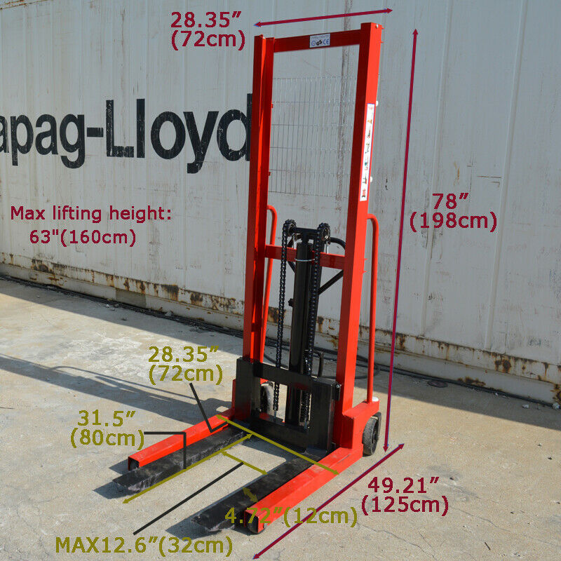 """Hand Pump Lift Trucks Manual Forklifts Pallet Stackers Load Fork 63""""Lift 2200lbs"""