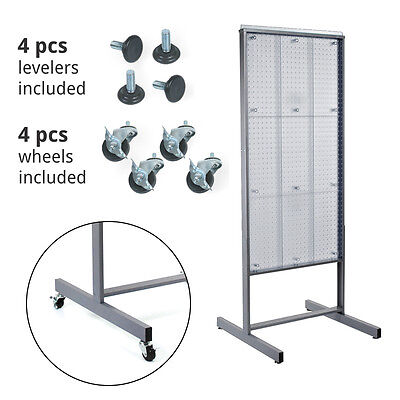 Clear 2 Sided Plastic Pegboard Display With 4 Basewheels 4 Levelers 24wx48h