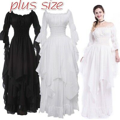Renaissance Dress Women Medieval Maxi Chemise Elegant Dress Plus Size