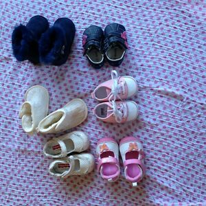 Baby girl shoes and onesies lot