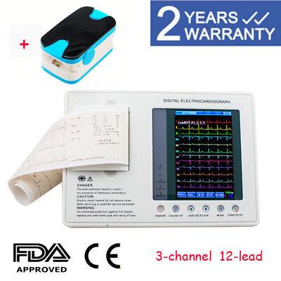 Us Seller Digital 3-channel 12-lead Ecgekg Machine Electrocardiograph Fda Gift