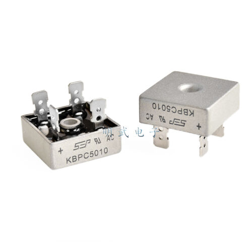 10pcs 50a 1000v Metal Case Single Phases Diode Bridge Rectifier Kbpc5010