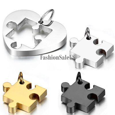 Stainless Steel Heart Shape Puzzle Pendant Couples Necklace Chain Valentine (Couples Heart Pendant)