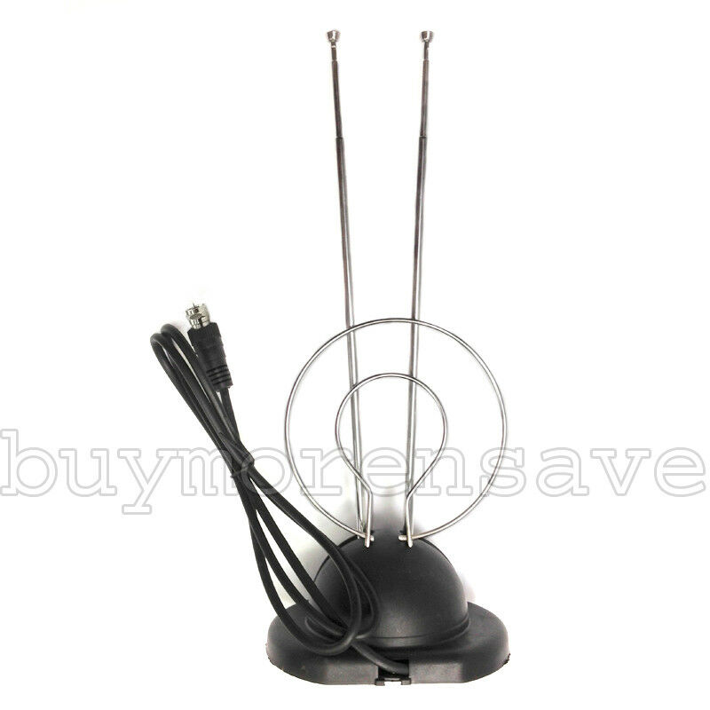 1X Universal Antenna Indoor Rabbit Ear W Base Color TV UHF V