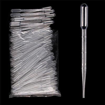 100pcs 3ml 15.5cm Disposable Plastic Eye Dropper Transparent Graduated Pipettes