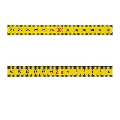 Skalenbandmaß Stahl rechts nach links 13mm gelb Duplex selbstklebend 0,30 - 100m (Maßband Ende)