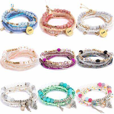 Boho Multilayer Natural Stone Crystal Beded Bracelet Women Fashion Jewelry Gift (Multi Color Bracelet)