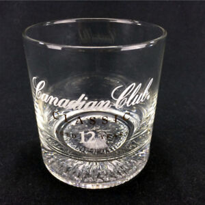 Canadian Club Classic Whisky Tumbler Glass Round Thick Base