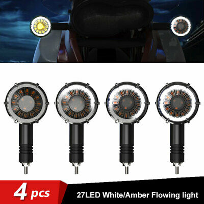 4PC Motorcycle Sequential Flowing LED Turn Signal Indicator Blinker Light White